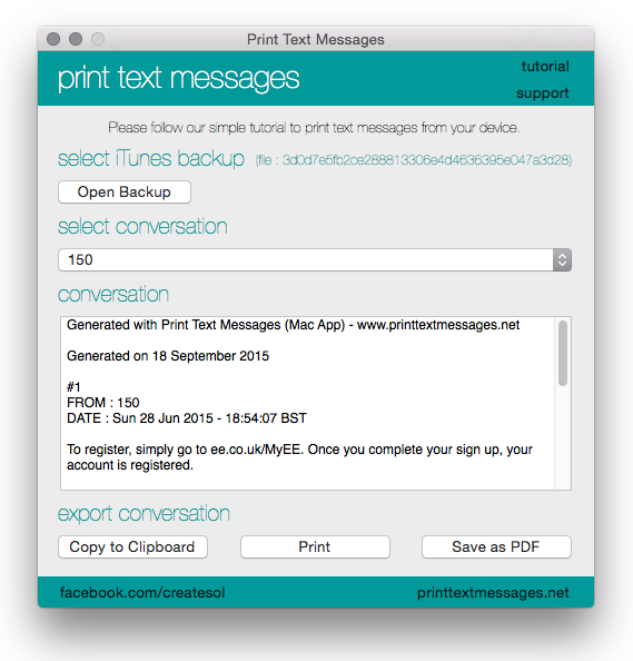 Print Text Messages from iPhone / iPad